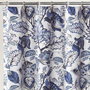 Lush Decor Blue Cynthia Jacobean Shower Curtain